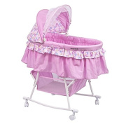 Dream On Me Lacy Portable 2 In 1 Bassinet And Cradle In Light Pink