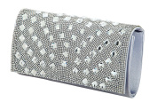 De Blossom Collection HB-61 Glitter Rhinestone Metal Mesh Bridal Party Prom Clutch bag Purse Silver