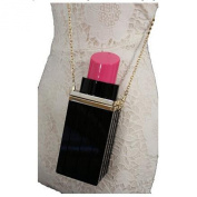 Women Acrylic Black Lipstick Shape Evening Bags Purses Clutch Vintage Banquet Handbag Pink