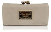ANNA SMITH brand new genuine martinee with ANNA SMITH logo gold plate wallet, purse, clutch with gift box-CREAM
