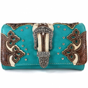 Justin West Western Studded Rhinestone Buckle Laser Cut Wristlet Trifold Wallet Attachable Long Strap