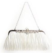 Evening Clutch Handbag for Wedding Proms- Elegant Handmade Purse Fit Any Dressy Event/Gala/Party- Ivory