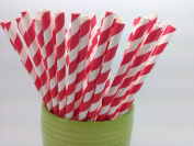 Red/White Stripes Paper Straws - Party DIY, Mason Jars, Baby Shower, Chevron and Polka Dots 125 straws