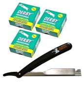 300 Derby Professional Single Edge Razor Blades with Classic Samurai Barber Straight Edge Razor