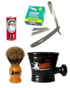 Classic Samurai Men's Shaving Set with Stainless Steel Professional Barber Straight Grey Razor Shavette with 100 Derby Single Razor Blades, Pure Badger Shaving Brush, Arko Stick Soap and Porcelain Mug