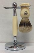 Men's Shaving Set -- FS Silvertip Badger Brush and Ivory Brush and Razor Stand