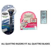 Schick Quattro Midnight Razor, 1 Razor w/ 2 Refill Blades + Quattro for Women 3 Ct w/ Loving Care Conditioner Packette