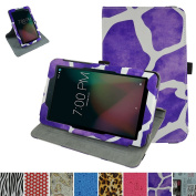 Sprint Slate 20cm Tablet Rotating Case,Mama Mouth 360 Degree Rotary Stand With Cute Lovely Pattern Cover For 20cm Sprint Slate 8 (AQT80) Android Tablet,Giraffe Purple