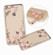 iPhone SE Case,iPhone 5/5S Case,UZZO iPhone 5/5S Pink Flower Glitter Bling Crystal Rhinestone Diamonds Ultra Slim Gold Electroplate Plating Frame TPU Silicone Bumper Cases for iPhone SE/5/5S Gold