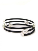 UNIQUE UNISEX WHITE SOUTH SEA AND AKOYA CULTURED PEARL WRAP-AROUND BANGLE BRACELET