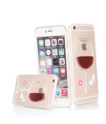 Uzzo Red Wine Glass Shape High Heel Red Lips Hard Back Cover for iPhone 6, 12cm