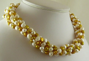Freshwater Cultured White and Golden Pearl Choker Necklace with Sterling Silver Clasp