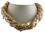 Freshwater Cultured Pink Pearl Choker Necklace with Sterling Silver Clasp 46cm