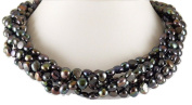 Freshwater Cultured Black Flat Pearl Necklace with Sterling Silver Clasp