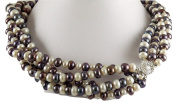 Freshwater Cultured Multicolor Pearl Necklace With Silver Clasp 46cm Long