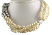 Freshwater Cultured 6.5mm - 7mm Grey & White Pearl Choker Necklace Silver Lock 18 1/2 Inches