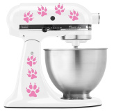 Dog Paw Prints with Nail marks - Vinyl Decal Set for Kitchen Mixers