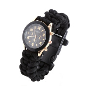 Sizet Survival Paracord Bracelet With Watch/Scraper/Flint Fire Starter and so on