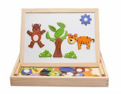 HLJgift Wooden Puzzle Toy, Animal Easel, Drawing Board, Jigsaw Blackboard Toys