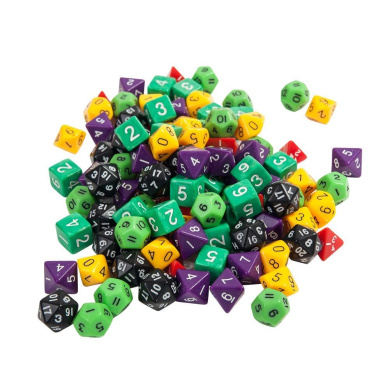 Tekmun 120 Multi-Coloured Multi-Shaped Dice with Carrying Case