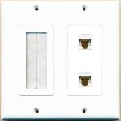 RiteAV (2 Gang Decorative) Mesh-Brush 2 Cat6 White Wall Plate White