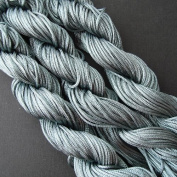 BeadsTreasure 28 Yards Grey Braided Nylon Thread Chinese Knotting Cord Macrame Shambala 1mm.