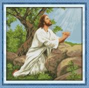 Stamped Cross Stitch Praying Jesus Beside The Tree 11 count 80cm X 77cm