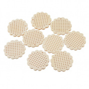 Souarts Beige Wood Flower Shape Small Circle Blanks Pendant for Counted Cross Stitch Kit 44.5mmx45.5mm Pack of 10pcs