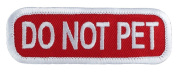 DO NOT PET (Red/White) Sew-On Service Dog Embroidered Patch - 7.6cm X 2.5cm
