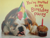 (8) Bulldog in Party Hat Kids Birthday Party Fill-in Invitation Cards