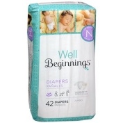 Well Beginnings Premium Nappies Jumbo, Newborn 42 ea