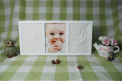 Clay Handprint & Footprint Desk Mounted Picture Frame by Momentum Home | Includes 1 Clay Forms and 1 13cm x 18cm Photo Slot | Ready-to-use Clay | Certified Non-toxic and Child Safe - White