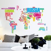 Flexzion DIY Wall Sticker Removable World Map Colourful USA Letters Country Name Art Decal Home Decor Durable for Nursery Children Mural Living Dining Room Televsion Walls