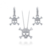 BERRICLE Sterling Silver Cubic Zirconia CZ Skull Bones Fashion Earrings and Pendant Necklace Set