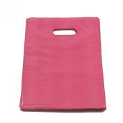 100 x Small Pink Punch Out Handle Gift Fashion Party Market Plastic Carrier Bags 18cm X 25cm