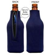 Funny Guy Mugs Plain Neoprene Bottle Koozies, Blue, Set of Four