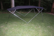 BLACK VORTEX BRAND 4 BOW BIMINI TOP 2.4m LONG, 230cm - 240cm WIDE, 140cm HIGH, COMPLETE KIT, FRAME, CANOPY, AND HARDWARE. 1 TO 4 BUSINESS DAY DELIVERY)