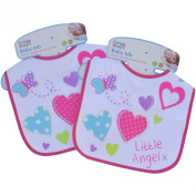 Baby Girl's Little Angel White & Pink Cotton Bibs