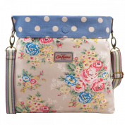 Cath Kidston Cotton Reversible Folded Messenger Bag Crossbody Candy Flowers Oat & Button Spot Blue