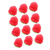 Contever® 12pcs Strawberry Sponge Hair Roll Cute Hair roller Curlers Beauty Tool