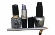4pc Bright Silver Lipstick & Lipliner with Fine Glitter Varnish & Solid Silver Nail Varnish