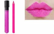 2pc Candy Pink Matt Lip Colour Lipstick Lip Wand Set with Lipliner