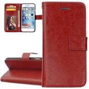 iphone 5S Case, iphone 5S Cover, ISAKEN Pu Leather Magnetic Flip Wallet Case Solid-coloured Cell Phone Cover Protect Skin Stand Case For Apple iphone 5S 5 - solid brown