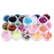 SupplyEU 24 Mix Colours Nail Art Makeup Decoration Extra Fine Glitter Dust Powder Set