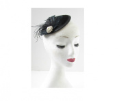 Black Silver Feather Fascinator Headpiece Hat Hair Clip Ivory Pearl Vintage W80 *EXCLUSIVELY SOLD BY STARCROSSED BEAUTY*