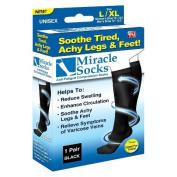 Sienna belle Unisex Anti-Fatigue Travel Socks Compression Socks Flight socks DVT Miracle Sock Casual Anti Fatigue Compression Socks ( L/XL) - BLACK