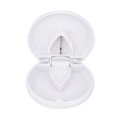 Round Pill Cutter Splitter Storage Compartment Box Medicine Holder White