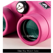 BNISE - 8x32 Compact Binoculars for Bird Watching - Asika HD Military Telescope for Hunting and Travel - Folding Pocket Size for Kids and Childrens Astronomy - High Clear Vision - Pink