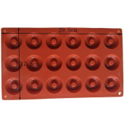 YIJIA DIY Doughnut Pastry Moulds 18-Cavity Silicone Cake Moulds Chocolate and Confectionery Silicone Mould