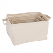 Neoviva PVC Coated Cotton Waterproof Open Storage Bin with Handles for House Organisation, Set of 3, Natural Canvas Beige